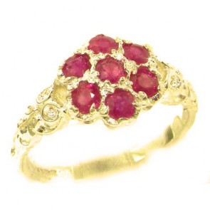 9ct Yellow Gold Natural Ruby Victorian Daisy Ring