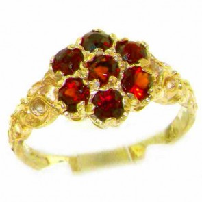9ct Yellow Gold Natural Garnet Victorian Daisy Ring