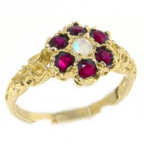 14K Yellow Gold Natural Fiery Opal & Ruby Daisy Ring