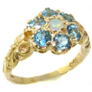 9ct Yellow Gold Natural Fiery Opal & Blue Topaz Daisy Ring