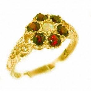14K Yellow Gold Natural Fiery Opal & Garnet Daisy Ring