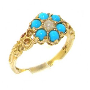 9ct Yellow Gold Pearl & Turquoise Daisy Ring