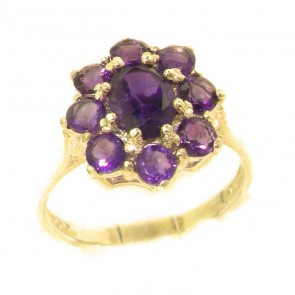9ct Yellow Gold Natural AAA Grade Amethyst Cluster Ring