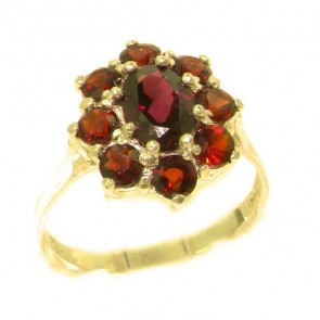 14K Yellow Gold Natural AAA Grade Garnet Cluster Ring