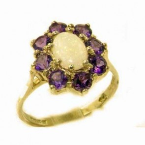 14K Yellow Gold Natural Opal & Amethyst Cluster Ring
