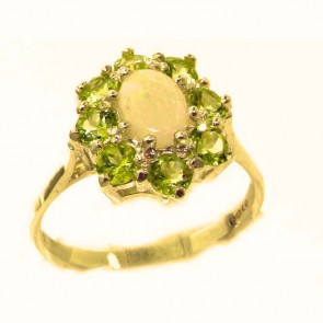 9ct Yellow Gold Natural Opal & Peridot Cluster Ring