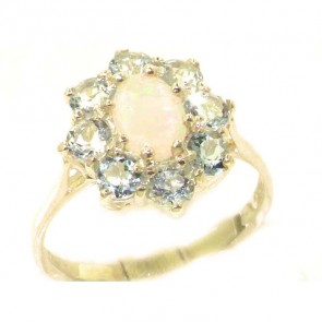 9ct Yellow Gold Natural Opal & Aquamarine Cluster Ring