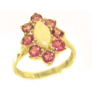 14K Yellow Gold Natural Opal & Pink Tourmaline Cluster Ring