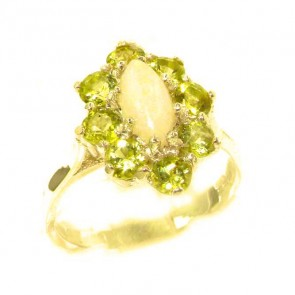 14K Yellow Gold Natural Opal & Peridot Cluster Ring