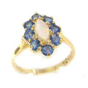 9ct Yellow Gold Ladies Marquise Opal & Sapphire Cluster Ring
