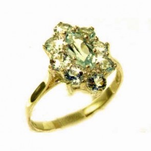 9ct Yellow Gold Natural Aquamarine Cluster Ring