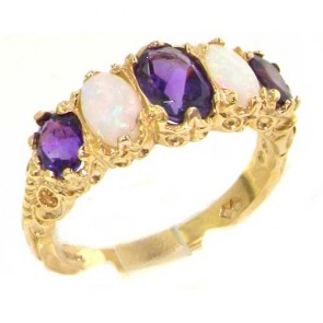 9ct Yellow Gold Amethyst & Opal Ring
