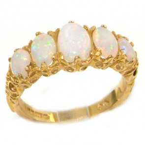 14K Yellow Gold Colorful Opal Ring