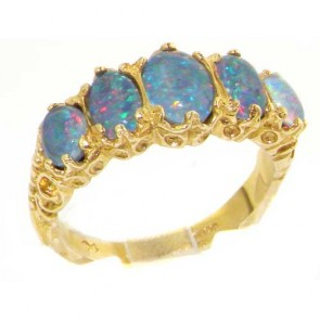 9ct Yellow Gold Genuine Opal Triplet Ring