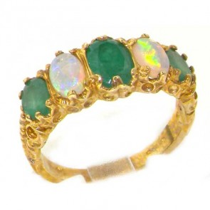 9ct Yellow Gold Opal & Emerald Ring