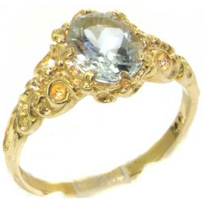 9ct Yellow Gold Natural Aquamarine Womens Solitaire Engagment Ring