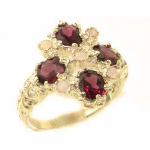 14K Yellow Gold Natural Rhodolite Garnet & Fiery Opal Ring