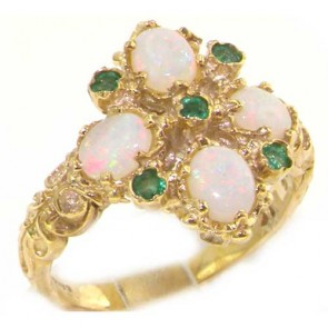 14K Yellow Gold Natural Emerald & Fiery Opal Ring - Finger Sizes K to Y Avail