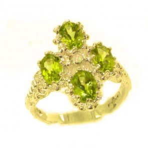 9ct Yellow Gold Natural Peridot & Fiery Opal Ring