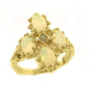 9ct Yellow Gold Natural Very Fiery Opal Ring