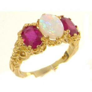 9ct Yellow Gold Natural 3.4ct Opal & Ruby Ladies Ring