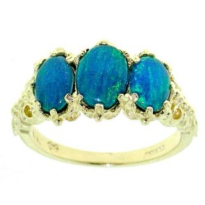 9ct Gold Blue Opal Triplet Ring