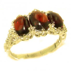 14K Yellow Gold Natural 3.3ct Cabochon Garnet Ladies Ring