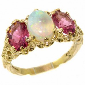 14K Gold Fiery Opal & Pink Tourmaline Ring