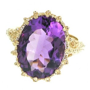 14K Yellow Gold 16x12mm Large Amethyst Ring