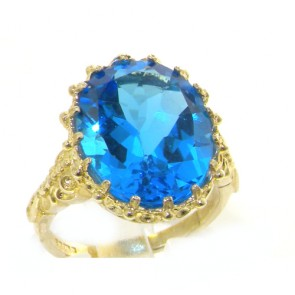14K Yellow Gold Large 16x12mm Oval 8.5ct Natural Blue Topaz Ring