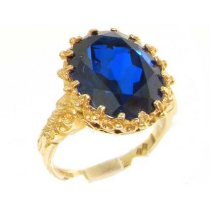 14K Yellow Gold Large 16x12mm Oval 11ct Synthetic Blue Sapphire Ring