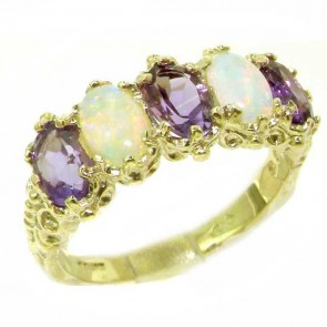 14K Yellow Gold Natural Amethyst & Fiery Opal Ring