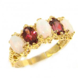 14K Yellow Gold Ladies Vibrant Opal & Rhodalite Garnet Eternity Band Ring