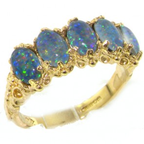 14K Yellow Gold Luxury Blue Opal 5 Stone Eternity Ring