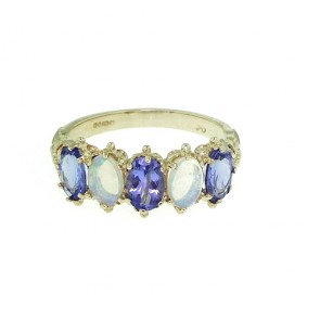 9ct Yellow Gold Tanzanite & Opal Ring