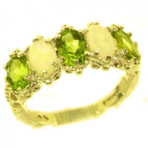 9ct Yellow Gold Natural Peridot & Opal Ring