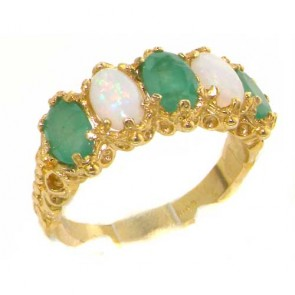 14K Yellow Gold Emerald & Opal Ring