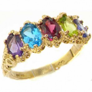 14K Yellow Gold Multicolor Ring