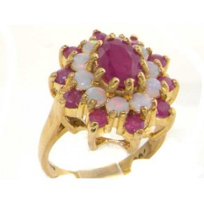 9ct Yellow Gold Natural Ruby & Opal 3 Tier Large Cluster Ring