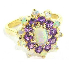 9ct Gold Fiery Opal & Amethyst Ring