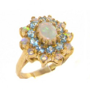 9ct Yellow Gold Natural Opal & Blue Topaz 3 Tier Large Cluster Ring