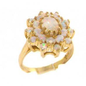 14K Yellow Gold Natural Opal 3 Tier Large Cluster Ring
