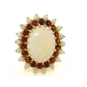 9ct Gold Opal & Garnet Cluster Ring