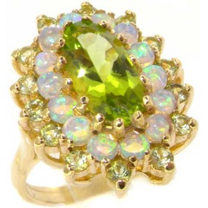 9ct Yellow Gold Large Peridot & Opal Cluster Ring