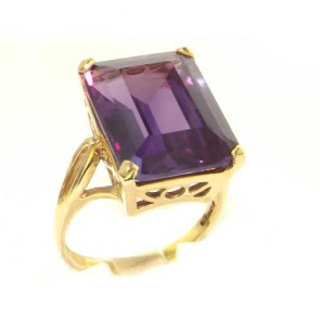 9ct Yellow Gold Large 16x12mm Octagon cut Synthetic Alexandrite Ring