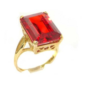 9ct Yellow Gold Large 16x12mm Octagon cut Synthetic Orange Sapphire Ring