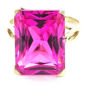 9ct Gold Large 16x12 Synthetic Pink Sapphire Ring
