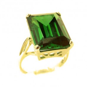 9ct Yellow Gold Large 16x12mm Octagon cut Synthetic Emerald Ring
