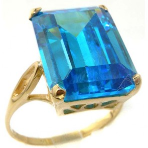 9ct Yellow Gold Womens Large Solitaire Synthetic Paraiba Tourmaline Basket Ring