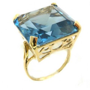 9ct Yellow Gold Huge Heavy Square Octagon cut Synthetic Aquamarine Ring